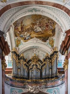 """Daily Photo courtesy of """"Wikipedia picture of the day"""" Organ of Altenburg Abbey Church (Lower Austria) by Anton Pfliegler (1775). Above the fresco by Paul Troger (1733): Transfer of the Ark of the Covenant by King David. http://ift.tt/1RhnU51 - http://ift.tt/1HQJd81"""
