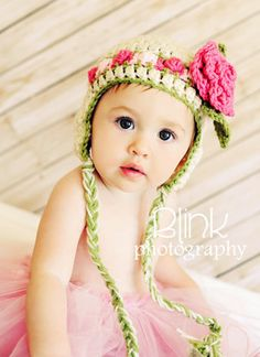 Baby Girl Hat- Newborn Girl Hat- Baby Hat with Rose Clip -by JoJosBootique