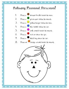 Ms. Lane's SLP Materials: Spatial Directions: Dots on a Face positional directions