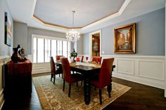 Wainscoting in dining room. Oakley Home Builders traditional dining room Charming Dining Room, Red Dining Room, Dining Room Inspiration, Room Wall Colors, Dining Room Blue, Home Decor, Blue Wall Colors, Blue Rooms, Dining Room Colors