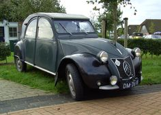 """The Citroën 2CV (French: """"deux chevaux"""" i.e. """"deux chevaux-vapeur"""" (lit. 'steam horses'), """"two tax horsepower"""") is an economy car manufactured and marketed by Citroën between 1948 and 1990.[1] It was technologically advanced and innovative, but with utilitarian looks and simple metal bodywork — initially corrugated for added strength without added weight.The 2CV was designed to motorize the large number of small-holder farmers in 1930s France, who were still using horses and carts."""