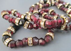 Art Deco Garnet Necklace 1920s Sterling Faceted Beads Red Crystal Rondelle French Jet Antique UK by SheWhoSparkles on Etsy