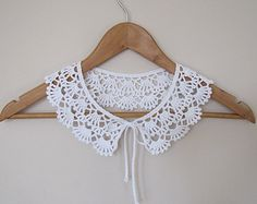 Coffee Latte Lace crochet collar necklace in by elfinhouse on Etsy