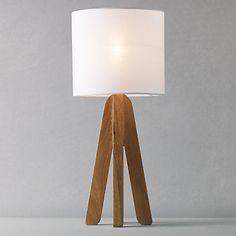 tripod lamp by John Lewis. Interior / Home / Decor / Design / Furniture / Accessories / Contemporary / Transitional / Modern Decor, Table Lamp Base, Interior, Lamp, Tripod Lamp, Home Lighting, Fabric Shades, White Table Lamp, Sanctuary Candles
