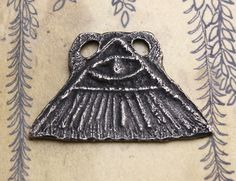 Handcast Eye in Pyramid Pendant Dark Aged Pewter by Inviciti - jewelry making accessories