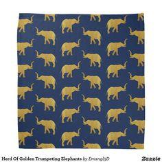 Herd Of Golden Trumpeting Elephants Bandana