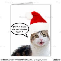 CHRISTMAS CAT WITH SANTA CLAUS HAT LARGE GREETING CARD