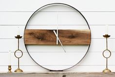BOLIVER DESIGN CO Reclaimed Wood + Whiskey Barrel Ring Clock by Boliver Design Co