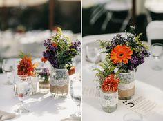 Cute Vintage wildflower wedding reception DIY arrangements by Heather Elizabeth Photography