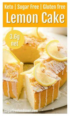 Sugar Free Lemon Cake, Gluten Free Lemon Cake, Sugar Free Baking, Sugar Free Desserts, Lemon Desserts, Sugar Free Recipes, Lemon Cakes, Sugar Free Sponge Cake Recipe, Sugar Free Cakes
