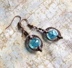 blue and copper, blue bead with copper Saturn ring