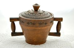 Vintage French handmade bowl, lidded bowl, OOAK bowl, two-handled cup, wooden cup, hand turned, rustic charm, French cottage style, country