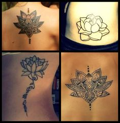 """Lotus tattoos.. Top right, maybe a small amount of color/shading? """"""""The lotus flower represents one symbol of fortune in Buddhism. It grows in muddy water, and it is this environment that gives forth the flower's first and most literal meaning: rising and blooming above the murk to achieve enlightenment.""""  I love this and hope to get something close, maybe more detailed/colorful. It relates so much"""""""
