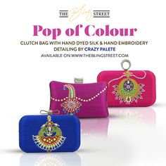 Add a pop of colour to you outfit with hand painted clutch bags by Crazy Palette available on theblingstreet.com — with CRAZY PALETTE.