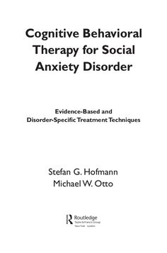 Cognitive behavioral therapy for social anxiety disorder apr.2008