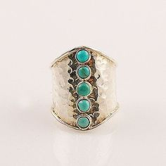 Blue Turquoise Hammered Band Sterling Silver Ring – Keja Designs Jewelry