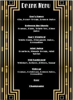 Drinks card of the cocktails, speakeasy, prohibition party - Great Gatsby - Prohibition Party, Speakeasy Party, 1920s Party, Speakeasy Decor, 1920s Speakeasy, Vintage Party, Party Dips, Snacks Für Party, New Years Eve Party Ideas Food