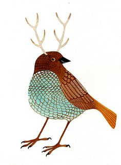 a bird with antlers. Curious and cute.