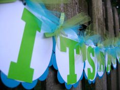 Baby Shower Banner  It's A Boy  Lime Green and Teal by ElegantEvee