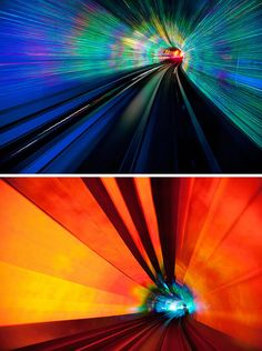 Photographer Jakob Wagner took a five minute tunnel ride in an automated car through a tunnel in China, creating vibrant, abstracted, long exposure, night photography that conveys the motion and changing light conditions along the journey.