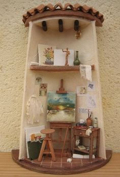 Tile Crafts, Fun Crafts, Diy And Crafts, Arts And Crafts, Pottery Houses, Ceramic Houses, Clay Fairy House, Diy Y Manualidades, Vitrine Miniature
