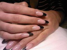 Ideas for french manicure almond nails stilettos Almond Nails Designs, French Manicure Designs, Black Nail Designs, Gel Nail Designs, Gel French, French Tip Nails, Black French Manicure, Black Nail Tips, French Stiletto Nails