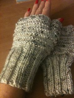 Hand Knitted Fingerless Gloves in Oatmeal by GranasCorner on Etsy, $15.00