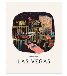 Rifle Paper Las Vegas print 11 x 14 inch Art Print created from anoriginal gouache painting by Anna Bond. Designed by Rifle Paper USA Anna Bond, Las Vegas, San Francisco Art, Travel Illustration, Rifle Paper Co, Gouache Painting, City Art, Travel Posters, Art Prints