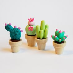 Polymer clay miniature cacti.