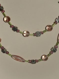 Floral Pink and Green Springtime Beaded by HappyTreeFrogStudios