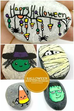 11 easy Halloween rock painting ideas guaranteed to wow! is part of children Drawing Ideas - Halloween rock painting ideas Create fun Halloween painted rocks from fun mummies to friendly monsters There is a fun stone painting idea for all levels Rock Painting Ideas Easy, Rock Painting Designs, Painting For Kids, Paint Ideas, Halloween Rocks, Easy Halloween, Halloween Crafts, Pirate Crafts, Halloween Design