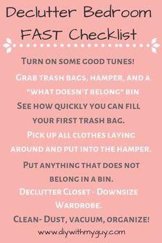 cleaning hacks bedroom How to Declutter Your Room Fast - DIY With My Guy Declutter Bedroom, Clean Bedroom, Declutter Your Home, Messy Bedroom, Organized Bedroom, Cleaning My Room, Cleaning Hacks, Bedroom Cleaning Tips, Cleaning Quotes