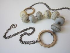 Windswept - seashore neutral blue, gray, & sandy beige lampwork glass beads, khaki glazed stoneware gear links, and antiqued copper necklace by LoveRoot, $45.00