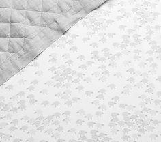 Organic Sheep Crib Fitted Sheet, Gray