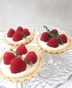Custard tarts with fresh English raspberries & thyme. Use any seasonal fresh fruit for the best results - recipe on my site