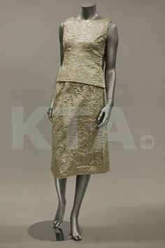 Balenciaga couture silver and gold brocatelle cocktail ensemble, mid 1960s