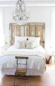 This rustic headboard is made from an old barn door!
