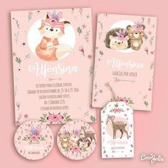 Christening Invitations, Baby Invitations, Birthday Invitation Templates, Forest Animals, Woodland Animals, Invitation Card Design, Party In A Box, Woodland Party, Pink Watercolor