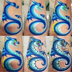 Apprentice Portfolio / Tattoo Artist Portfolio / Tips and Advice – Famous Last Words Dragon Face Painting, Face Painting For Boys, Face Painting Tips, Face Painting Tutorials, Face Painting Designs, Paint Designs, Body Paint Cosplay, Animal Face Paintings, Artistic Make Up