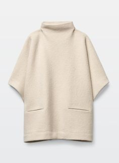 Made with plush merino wool, this cape sweater has a felted feel that's just right for chilly days. Wear it on its own as a top, or as a cozy layer over other pieces. Winter Wear, Autumn Winter Fashion, Women's Ponchos & Wraps, Pullover Mode, Ladies Poncho, Fall Capsule Wardrobe, White Shirts, Winter Looks, Pink Sweater