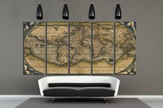 Large World Map Canvas Print Wall Art Multi by RainbowArtStore