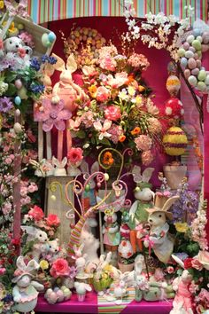 I love the extend-o-leg bunnies we have, as well as the ones down in front with the beady eyes and duck-like feet. You can also see our popular egg wreaths in this one. Store Window Displays, Display Window, Easter Eggs, Easter Bunny, Floral Wreath, Holiday Decor, Spring, Crafts, Inspiration
