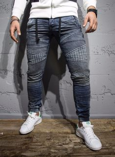 P&V Men Slim Fit Soft Denim Jeans Joggers - Washed Blue