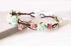 Mint and pink rose floral crown wedding headdress by Flashfloozy