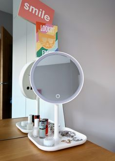 Perfect dressing table mirror to do your makeup. {Gifted-Ad} some of the products mentioned were gifted by Beautify Guest Bedrooms, Master Bedroom, Grey Upholstered Bed, Diptyque Candles, Nautical Bedding, Dressing Table Mirror, London House, Under The Table, Beautiful Posters