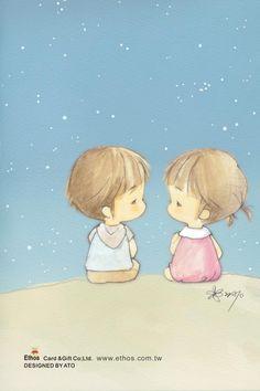 插畫家Ato Recover:一起看星星。來源