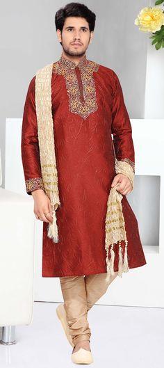 14747: Red and Maroon color family Kurta Pyjamas.