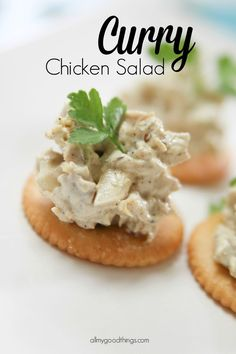 A quick and delicious Curry Chicken Salad recipe that will be the new lunch favorite or turned into an easy bite sized appetizer for your party.