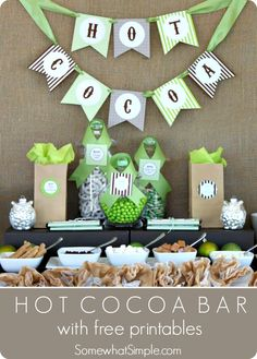 Fun idea for a winter party! Invite some friends over for a hot cocoa party, or set up a special table at the party you've already planned. Free printables included on this post.