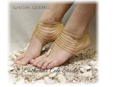 Tap into your inner goddess wearing our trendy barefoot sandals in gold. A spirited multi chain and pearl handmade Boho barefoot sandal, perfect for beach weddings . What makes these fun barefoot sand